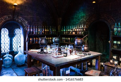 London / United Kingdom - November 23 2017: Warner Bros Harry Potter Studio. Potions Classroom dungeons where professor Snape was the master. Creepy place with the pickled animals floating in jars.