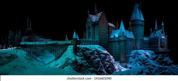 London / United Kingdom - November 23 2017: Warner Bros Harry Potter Studio. Castle of Hogwarts School of Witchcraft and Wizardry. Fictional British school of magic in Scotland.
