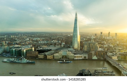 London / United Kingdom - November 24 2017: Panorama over Thames river, the skyscraper, skyline and cityscape. Photo of the city lights. Huge historical city that is also a financial and business hub.