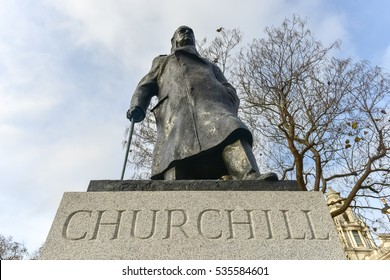 London, United Kingdom - November 24, 2016: Statue of Sir Winston Churchill in Parliament Square Garden in London.