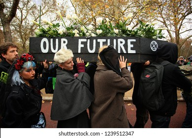 London, United Kingdom - November 24th 2018: Extinction Rebellion Protesters march through London