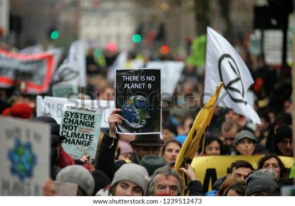 London, United Kingdom - November 24th 2018: Extinction Rebellion Protesters march through London