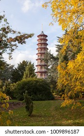 London, United Kingdom - November 3, 2016. View of Japanese Pagoda in Kew Gardens during autumn.