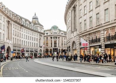 LONDON, UNITED KINGDOM - OCT 11: Regent Street in London on OCT 11, 2019.