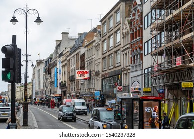 LONDON, UNITED KINGDOM - OCT 11: Strand Street in London on OCT 11, 2019. Strand is a major thoroughfare in the City of Westminster.