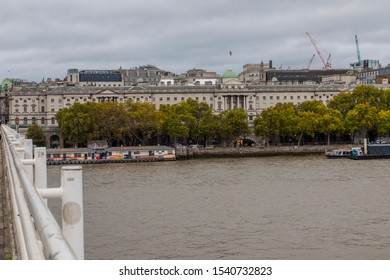 LONDON, UNITED KINGDOM - OCT 11: The view from Waterloo Bridge on OCT 11, 2019.