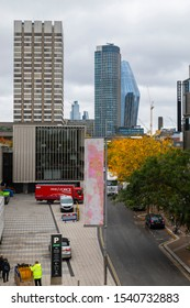 LONDON, UNITED KINGDOM - OCT 11: The view of the National Theatre, South Bank Tower and One Blackfriars in London on OCT 11, 2019.