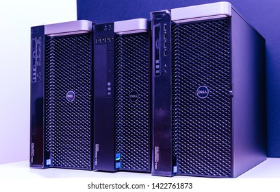 London, United Kingdom - Oct 2, 2017: Row of new Dell Precision T5810 7910 Xeon workstation for heavy computing AI calculations violet color cast