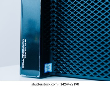 London, United Kingdom - Oct 2, 2017: Row of new Dell Precision T7910 Xeon workstation for heavy computing AI calculations with front Intel Xeon sticker