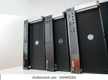 London, United Kingdom - Oct 2, 2017: Row of new Dell Precision T5810 7910 Xeon workstation for heavy computing AI calculations - low angle