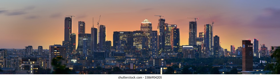 LONDON, UNITED KINGDOM, OCT14, 2019: Canary Wharf viewed from Greenwich, The View Point