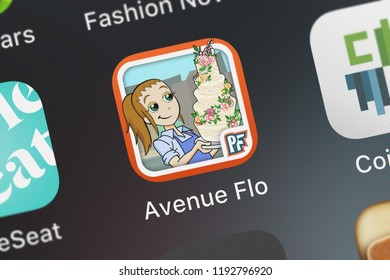 London, United Kingdom - October 01, 2018: Close-up shot of the Avenue Flo mobile app from Glu Games Inc.