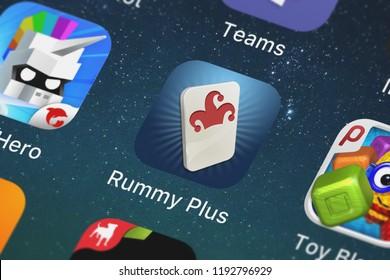 London, United Kingdom - October 01, 2018: Close-up shot of Zynga Inc.'s popular app Rummy Plus.