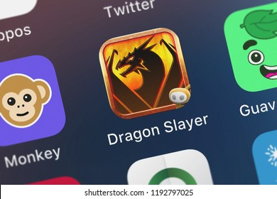 London, United Kingdom - October 01, 2018: Close-up shot of the Dragon Slayer™ mobile app from Glu Games Inc.