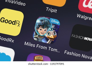 London, United Kingdom - October 01, 2018: Screenshot of the Miles From Tomorrowland: Missions mobile app from Disney icon on an iPhone.