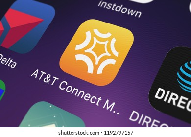 London, United Kingdom - October 01, 2018: Screenshot of the ATT Connect Mobile mobile app from ATT Services, Inc. icon on an iPhone.