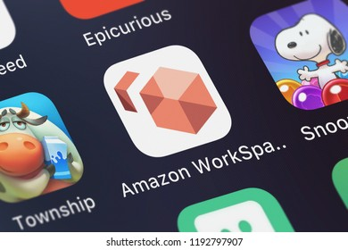 London, United Kingdom - October 01, 2018: Close-up shot of the Amazon WorkSpaces mobile app from AMZN Mobile LLC.