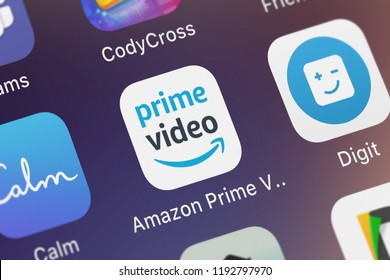 London, United Kingdom - October 01, 2018: Screenshot of the mobile app Amazon Prime Video from AMZN Mobile LLC.