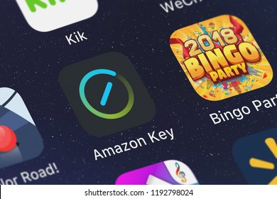 London, United Kingdom - October 01, 2018: Close-up shot of the Amazon Key application icon from AMZN Mobile LLC on an iPhone.
