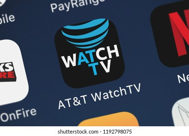London, United Kingdom - October 01, 2018: Close-up of the ATT WatchTV icon from ATT Services, Inc. on an iPhone.