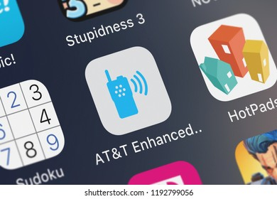 London, United Kingdom - October 01, 2018: Screenshot of the mobile app ATT Enhanced Push-To-Talk from ATT Services, Inc..