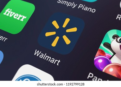 London, United Kingdom - October 01, 2018: Screenshot of the mobile app Walmart – Shopping and Saving from Walmart.