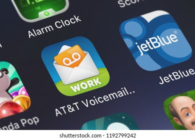 London, United Kingdom - October 01, 2018: Screenshot of the mobile app ATT Voicemail Viewer (Work) from ATT Services, Inc..