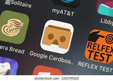 London, United Kingdom - October 01, 2018: Close-up shot of the Google Cardboard mobile app from Google, Inc..