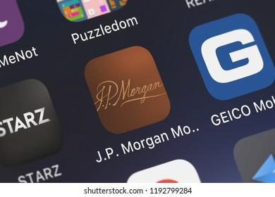 London, United Kingdom - October 01, 2018: Close-up shot of JPMorgan Chase  Co.'s popular app J.P. Morgan Mobile (SM).