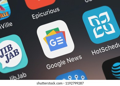 London, United Kingdom - October 01, 2018: Close-up shot of the Google News application icon from Google, Inc. on an iPhone.