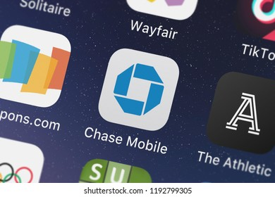London, United Kingdom - October 01, 2018: Screenshot of JPMorgan Chase  Co.'s mobile app Chase Mobile.