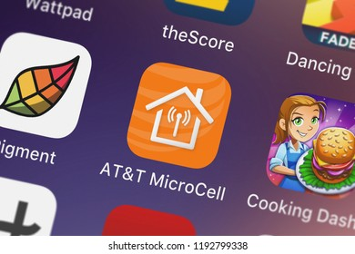 London, United Kingdom - October 01, 2018: Close-up shot of ATT Services, Inc.'s popular app ATT MicroCell.