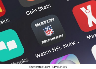 London, United Kingdom - October 01, 2018: Screenshot of the mobile app Watch NFL Network from NFL Enterprises LLC.
