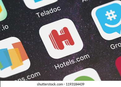 London, United Kingdom - October 01, 2018: Screenshot of the mobile app Hotels.com: Easy Hotel Booking from Hotels.com.