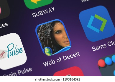London, United Kingdom - October 01, 2018: Screenshot of Big Fish Games, Inc's mobile app Web of Deceit: Deadly Sands HD - A Hidden Objects Adventure.