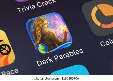 London, United Kingdom - October 01, 2018: Screenshot of the mobile app Dark Parables: Goldilocks and Fallen Star (Full) from Big Fish Games, Inc.