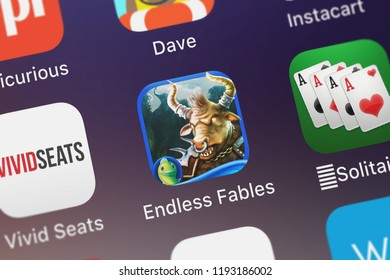 London, United Kingdom - October 01, 2018: Screenshot of the Endless Fables: The Minotaur's Curse - Hidden mobile app from Big Fish Games, Inc icon on an iPhone.