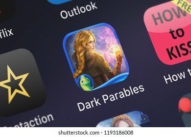 London, United Kingdom - October 01, 2018: The Dark Parables: Goldilocks and the Fallen Star mobile app from Big Fish Games, Inc on an iPhone screen.
