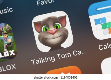 London, United Kingdom - October 01, 2018: Icon of the mobile app Talking Tom Cat for iPad from Outfit7 Limited on an iPhone.