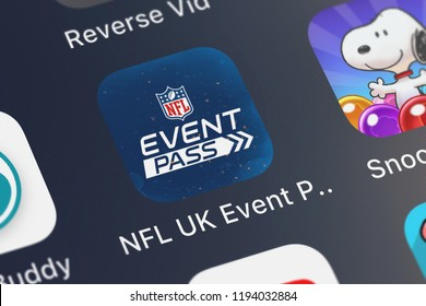 London, United Kingdom - October 01, 2018: Close-up shot of the NFL UK Event Pass application icon from NFL Enterprises LLC on an iPhone.