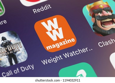 London, United Kingdom - October 01, 2018: Screenshot of the mobile app Weight Watchers Magazine from Weight Watchers International, Inc..