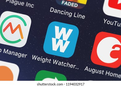 London, United Kingdom - October 01, 2018: Screenshot of the mobile app Weight Watchers from Weight Watchers International, Inc..