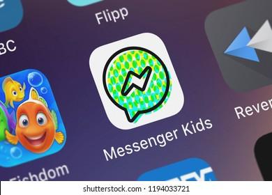 London, United Kingdom - October 01, 2018: Close-up shot of the Messenger Kids mobile app from Facebook, Inc..
