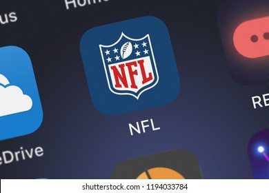 London, United Kingdom - October 01, 2018: Screenshot of NFL Enterprises LLC's mobile app NFL.
