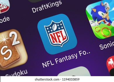 London, United Kingdom - October 01, 2018: Screenshot of NFL Enterprises LLC's mobile app NFL Fantasy Football.