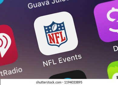 London, United Kingdom - October 01, 2018: Close-up shot of the NFL Events application icon from NFL Enterprises LLC on an iPhone.
