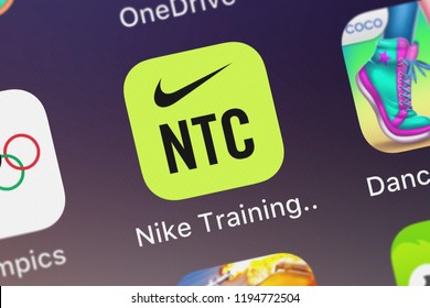 London, United Kingdom - October 01, 2018: Close-up shot of the Nike Training Club mobile app from Nike, Inc.