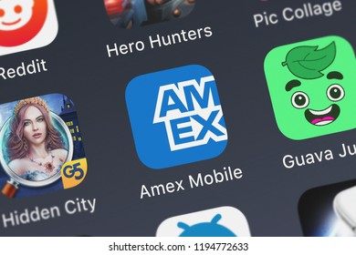 London, United Kingdom - October 01, 2018: Close-up of the Amex Mobile icon from American Express on an iPhone.