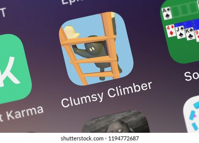 London, United Kingdom - October 01, 2018: The Clumsy Climber mobile app from Ketchapp on an iPhone screen.
