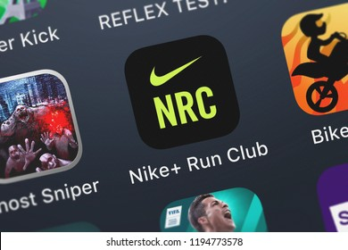 London, United Kingdom - October 01, 2018: Close-up shot of Nike, Inc's popular app Nike+ Run Club.